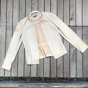VINCE Light Tan Leather Hook Closure Jacket